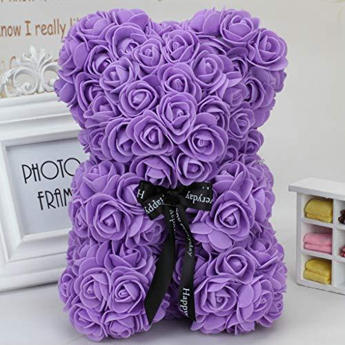 Fafalloagrron Wedding Flower Bear Decoration Handmade Flowers Cute Fashion Artificial Decoration Ornaments Gifts Doll Valentines Birthday Party Landscape (Purple)