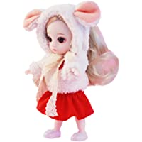 Christmas Cute Long Hair Series Baby Girls 6 Inches Movable Joints Doll Toys Soft Body Mini Girl Dolls Simulation 3D Doll Dress Up Games, Best Gifts for Children (C)