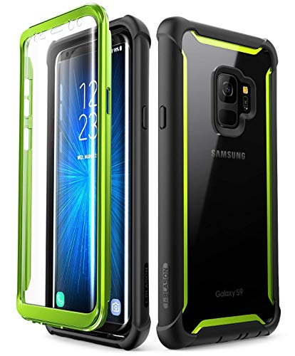 i-Blason Case for Galaxy S9 2018 Release, [Ares] Full-body Rugged Clear Bumper Case with Built-in Screen Protector (Green)