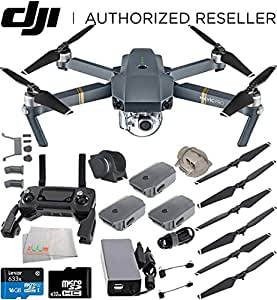 DJI Mavic Pro Quadcopter Drone with Manufacturer Accessories + 2 Extra Intelligent Flight Batteries + 32GB Micro SD Memory Card + Microfiber Cleaning Cloth