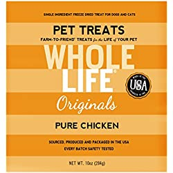 Whole Life Pet Single Ingredient USA Freeze Dried Chicken Breast Treats Value Pack for Dogs and Cats, 10-Ounce
