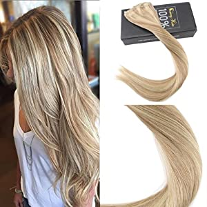 Sunny 16inch Clip On Hair Extensions Human Hair Dark Ash Blonde Highlight Bleach Blonde 7 piece 120G Real Remy Human Hair Extensions Clip in Extensions for Full Head