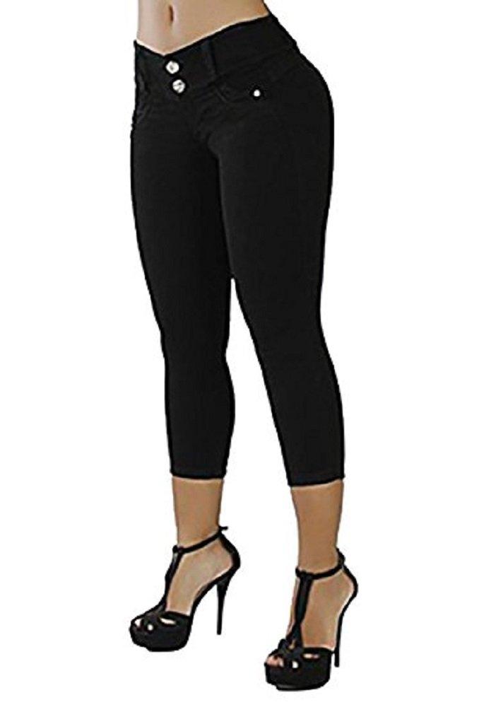 Karlywindow Women's Capri Jeans Casual Solid Skinny Butt Lift Button Denim Pants