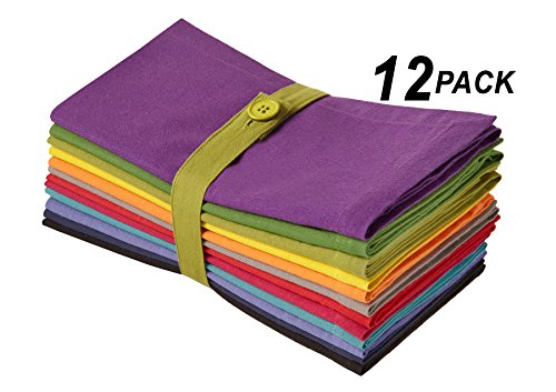Cotton Craft Dinner Napkins - Multicolor 12 Pack - Pure 100% Cotton - 20x20 Oversized - Set contains one each
