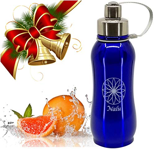 Nalu Curve Stainless Steel Vacuum Insulated Hydro Water Bottle | Wide Mouth Thermos Flask | Stays Cold 24 Hours & Hot 12 Hours | BPA Free Cap | 27oz Blue | Bonus Fruit Infuser Filter