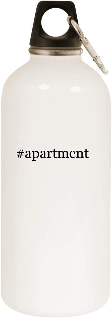 #apartment - 20oz Hashtag Stainless Steel White Water Bottle with Carabiner, White