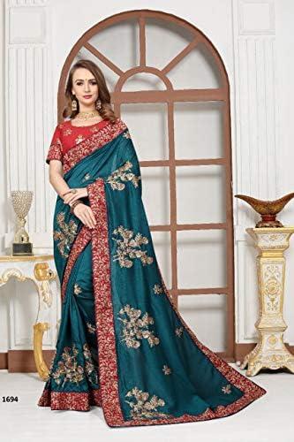 Designer Indian Bollywood Pure Satin Embroidery Work Saree Wedding Casual Wear Party Festive Women Sari Blouse 9613