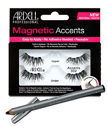 Ardell Professional Accents 002 Magnetic Lashes + Unikcolours Black Eyeliner Pencil - Eye Makeup (Cameo Magnet)