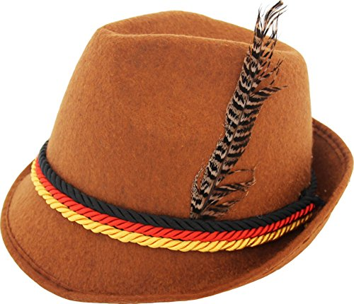 German Alpine Bavarian Oktoberfest Brown Costume Hat with Feather (Brown) ()