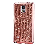 KSHOP Case for Samsung Galaxy S5 Mini Soft Silicone TPU Rosegold Glossy Glitter Bling Shining Luxury Protective Case Cover with Eletroplating Frame Cell Phone Back Bumper Shell
