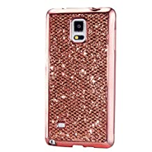KSHOP Case for Samsung Galaxy S4 Mini Soft Silicone TPU Rosegold Glossy Glitter Bling Shining Luxury Protective Case Cover with Eletroplating Frame Cell Phone Back Bumper Shell