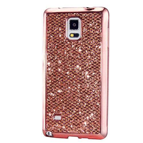 Samsung Galaxy Note 4 Case, KSHOP Ultra Thin TPU Silicone Bumper Case Cover with [Electroplating Technology] Bling Glitter Soft Gel Back Case Cover for Samsung Galaxy Note 4-Blue