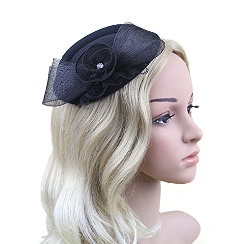 MEiySH Women's Vintage Flower Feather Mesh Net Fascinator Feather Pillbox Hat With Veil Hair Clip Party Wedding (Black Pill Box Hat)