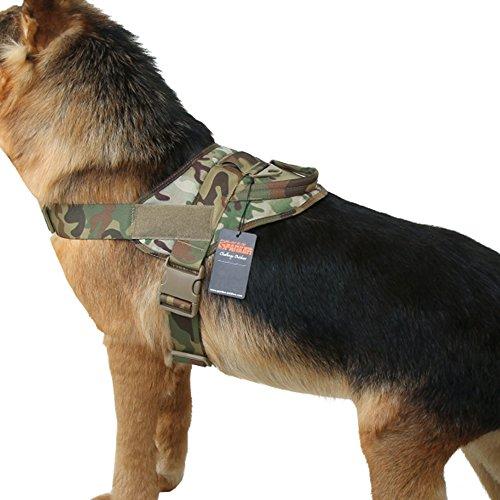 EXCELLENT ELITE SPANKER Tactical Dog Vest Training Military Patrol K9 Service Dog Harness Adjustable Nylon Dog Harness with Handle(MCP-L) ()