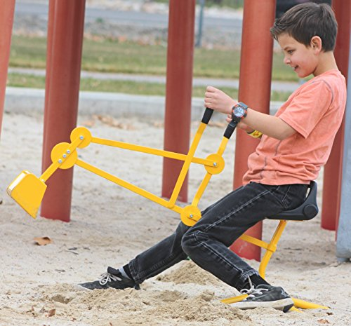 Childrensneeds.com Sand Digger Toy Backhoe for Snow, Sand, Beach, Dirt, A Durable Metal Outdoor Ride-on Excavator Toy for Ages 3 and Up (Yellow)