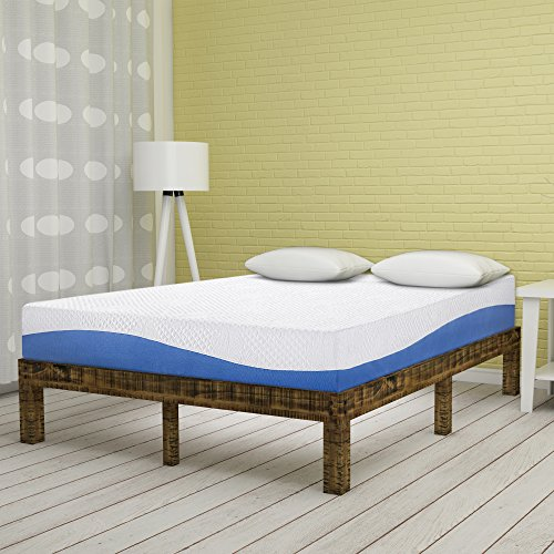 Olee Sleep 10 Inch Gel Infused Layer Top Memory Foam Mattress Blue, ()