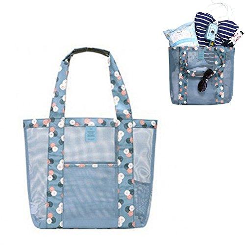 Wisdompark Travel Summer Beach Tote Bag, Women's Handbag Shoulder Bag, Retro Clutch Handbag Women's Shopping Bag (daisy mint)