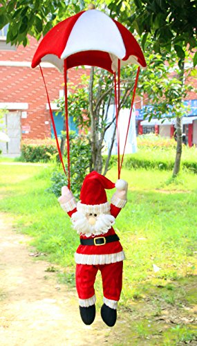 Parachute Santa - Christmas Tree and Home Decorations Hanging Santa Claus Snowman Ornament in Parachute Xmas Decoration (A)
