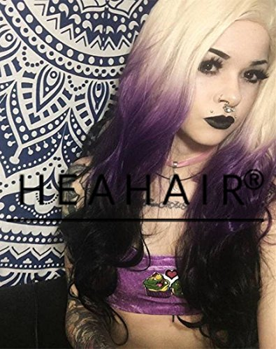 [Heahair Ombre Synthetic Lace Front Wig Rainbow Lace Wig Ombre Lace Front Wigs for Women] (Mens Costume Ideas Homemade)