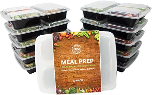 Meal Prep Containers, BPA FREE Healthy Lunch Storage, 3 Compartment Sectioned Disposable Food Prep Containers - Stackable Portion Control Bento Boxes by Turning to Wellness