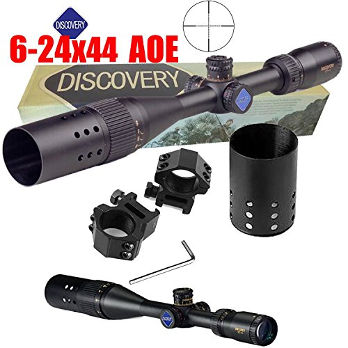 Ledsniper®Discovery®hot Sale 6-24x44 AOE Rifle Scope dual color red green Illuminated Riflescope with Rings wholesale price rifle scope