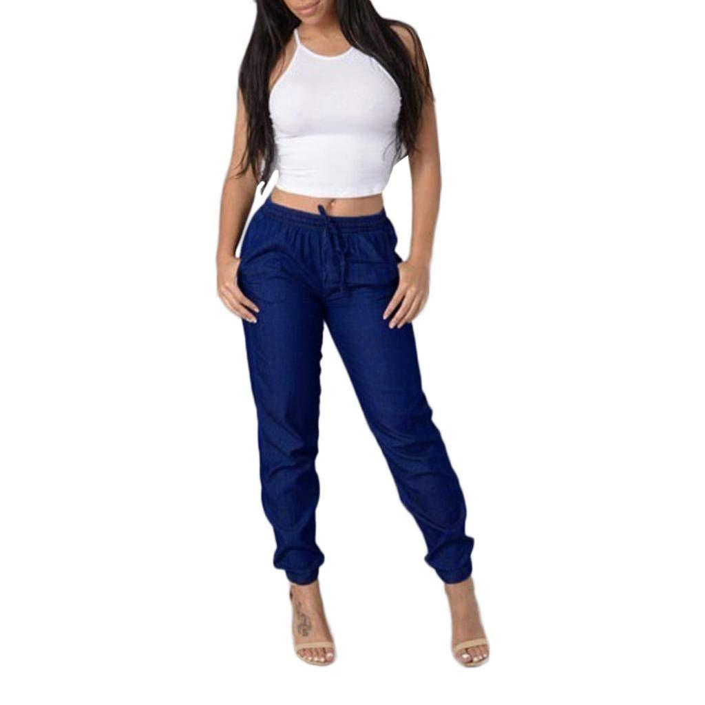 TOPUNDER Elastic Waist Casual Pants for Womens High Waist Jeans Casual Blue Denim Pants
