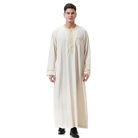 Camiseta Manga Larga,Algodón y Lino para Hombres, diseño Bordado, túnica árabe de Manga Larga con Cierre_Internet(Beige/Negro/marrón/Blanco S-3XL): ...