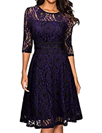 Miusol Women's Vintage Floral Lace 2/3 Sleeve Cocktail Party Swing Dress (3552)