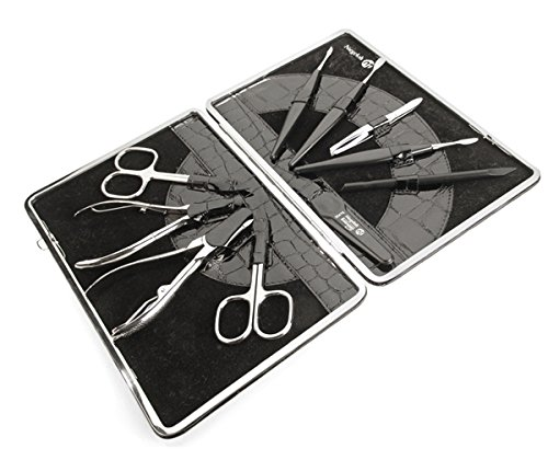 Luxury KROKO Womens Manicure Set in Black Leather Case. Made by Niegeloh in Germany by Niegeloh