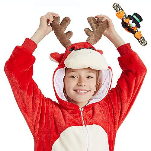 Halloween Red Deer (CASABACO Kid Child Animal Deer Onesie Pajamas Costume Boy Girl Zip Fleece Onepiece Cartoon Cosplay for Halloween Christmas, Deer, Red,)