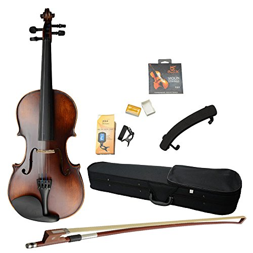 MCH 4/4 Full Size Classic Retro Solid Wood Acoustic Violin Starter Kits ( Violin Case , Bow , Rosin , Shoulder Rest , Electronic Tuner) , Beginner Pack for Adult by MCH