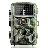 Campark Trail Game Camera 14MP 1080P Night Vision Waterproof Hunting Scouting Cam for Wildlife Monitoring with 120°Detecting Range Motion Activated 2.4'' LCD IR LEDs 3 PIR