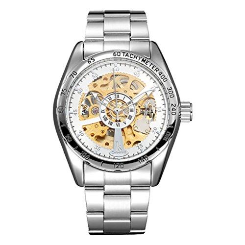 GuTe Elegant Golden Silver Steampunk Automatic Mechanical Watch Skeleton Steel WR10M