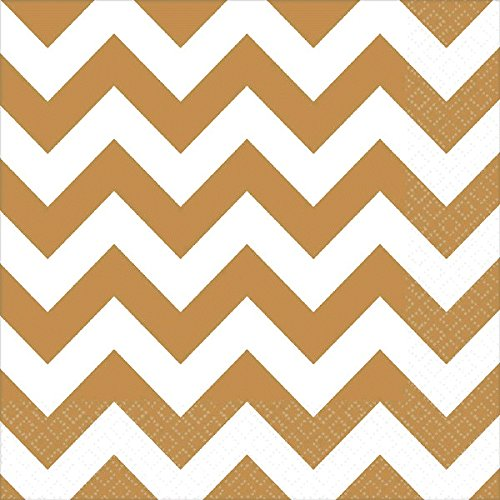 Breeze Luncheon Napkins - Amscan Gold Chevron Luncheon Napkins | 6