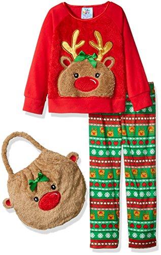 Bunz Kidz Little Girls' Reindeer 2pc Pajama Set with Plush Bag, Red, 6
