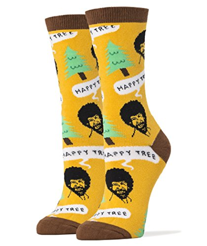 Oooh Yeah Women's Luxury Combed Cotton Crew Socks Bob Ross (Happy Tree Yellow),Large]()