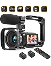 Camcorder 1080P Video Camera KOT 36MP 3.0 Inch IPS Touch Screen 16X Digital Zoom IR Night Vision HD Vlogging Camera Digital Video Camera Camcorder with Microphone Handheld Stabilizer Remote Control