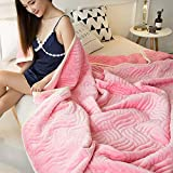 Wanrane Soft, Comfortable Fabric Simple Modern Casual Composite Blanket Towel Quilt Single Double Towel Blanket Winter Blanket line Blanket Sheet Thick (Color : Pink, Size : 200x230cm)