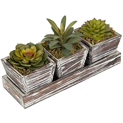 (MyGift Rustic Style Artificial Succulent Torched Wood Planters Removable Tray, Set of 3)