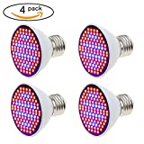 Yi-Create LED Grow Light Bulb, AC110V/220V, E27/E26, SMD 3528 106LEDs Blue & Red Chips, 6W Grow Lamp For Plant Growth and Flowering Results (4PCS/Pack)