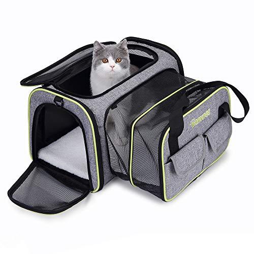 Transportin Gato Perro Pequeño Mascotas Cómodo Bolso para Transporte en Tren, Coche, Avión