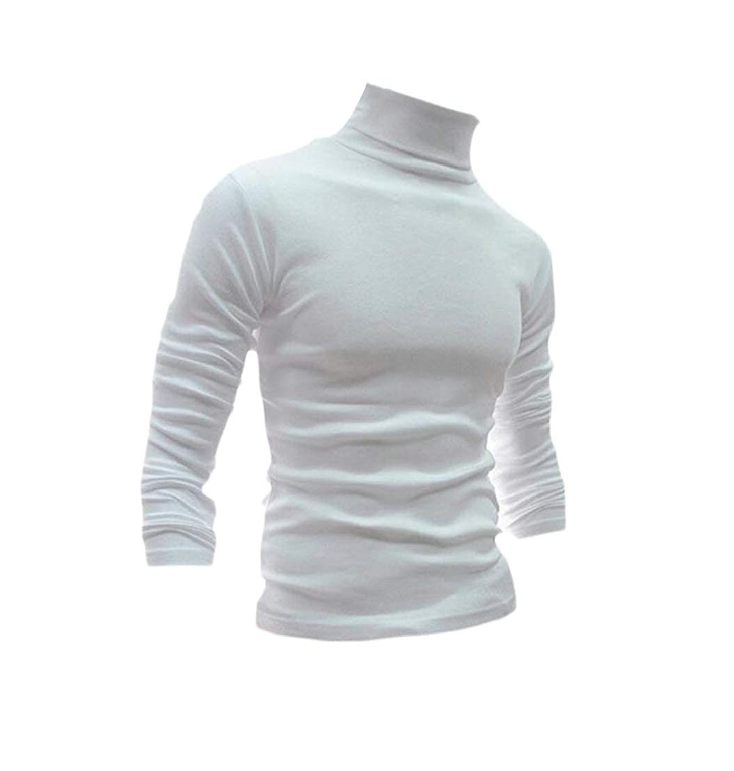 Generic Mens Warm Slim Fit Knitting Long Sleeve Solid High Neck Pullover Sweaters