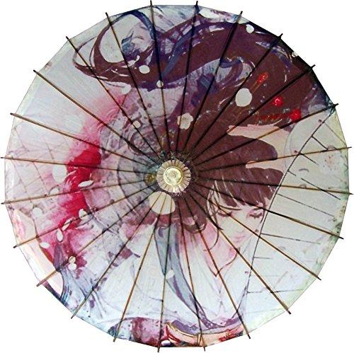 White Raven Cosplay Costume (Oriental Decor 32 inch Raven Haired Maiden Umbrella)