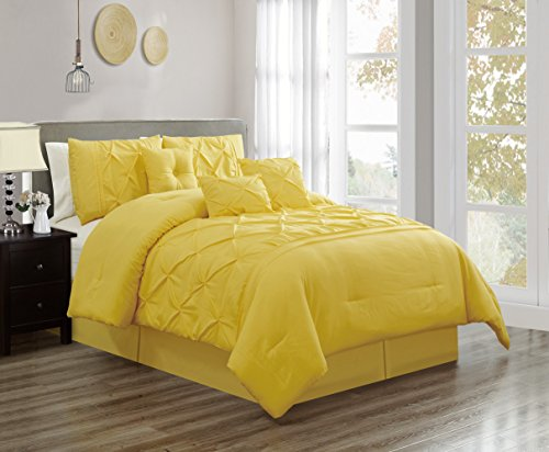 Grand Linen 7 Piece QUEEN size Solid YELLOW Double-Needle Stitch Puckered Pinch Pleat Stripe Includes 1 Comforter, 3 Decorative Pillows, 1 Bed Skirt, 2 (Pinch Pleat Skirt)