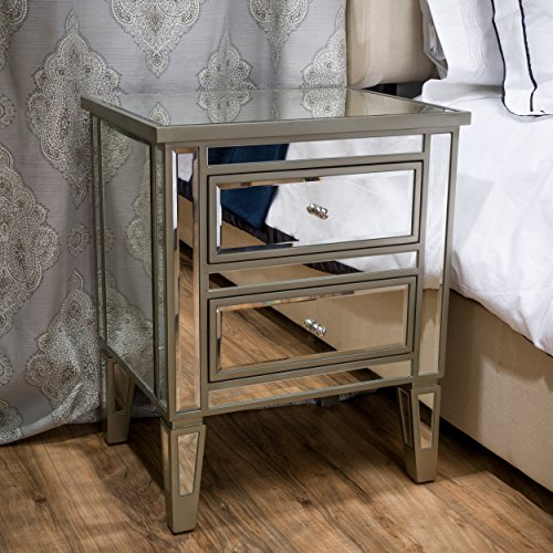 Crawford Vintage Mirror Two-Drawer End Table Casual Contemporary Mirrored by CapMart by Christopher Knight Home