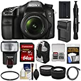 Cheap Sony Alpha A68 Digital SLR Camera & 18-55mm Lens with 64GB Card + Battery & Charger + Backpack + Flash + Tele/Wide Lens Kit