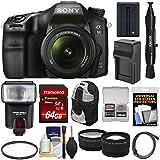 Sony Alpha A68 Digital SLR Camera & 18-55mm Lens 64GB Card + Battery & Charger + Backpack + Flash + Tele/Wide Lens Kit