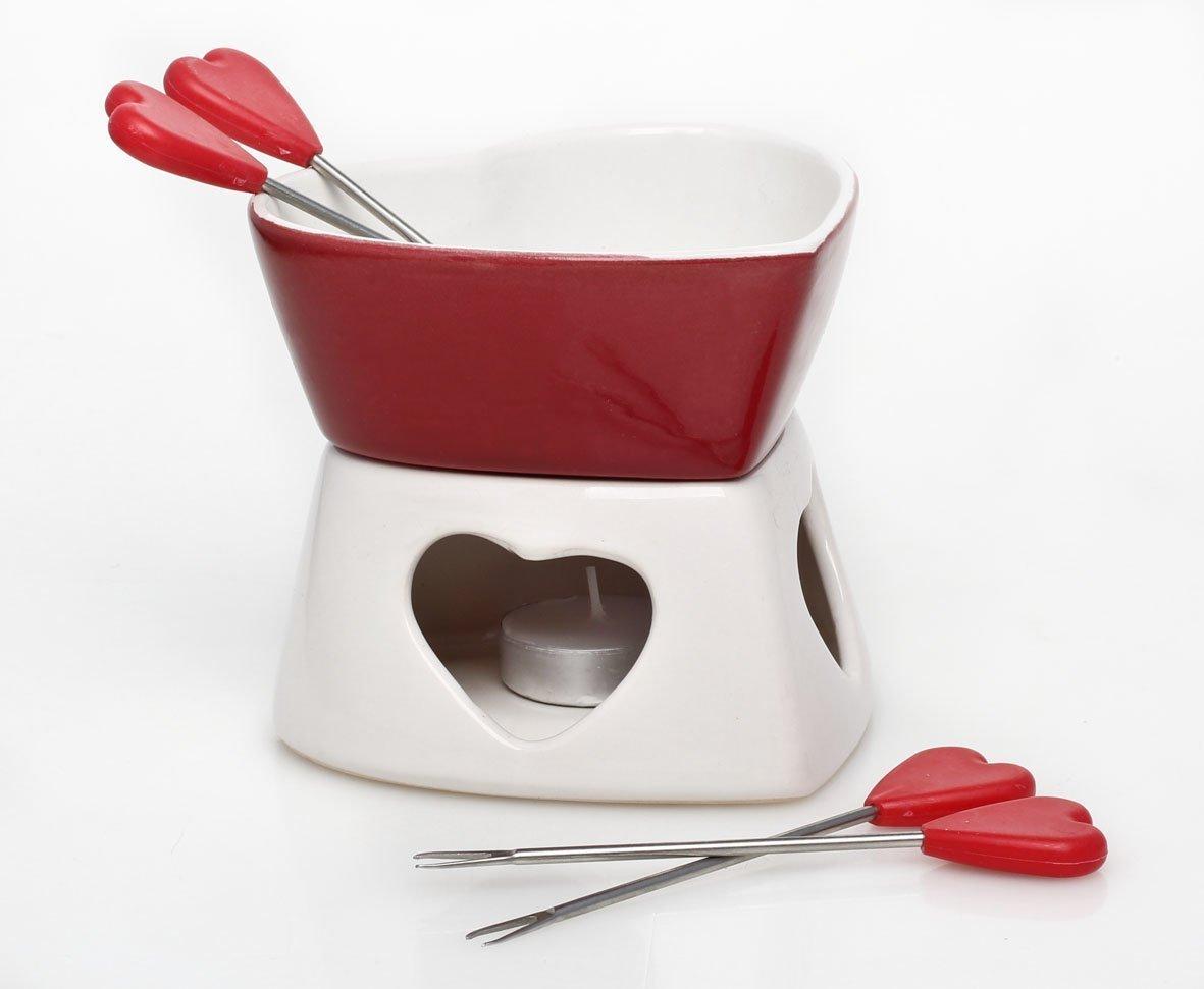 Forma Cuore Ceramica Formaggio Cioccolato Te Chiaro Candela Set Per Fonduta Pentola & 4 Forchette Tish