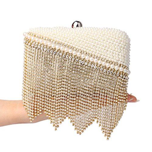 Colore Ladies Fashion Tassel Dress Bag Evening Clutch Oro Banquet Argento Bag KERVINJESSIE Women Handbag q4Pdgq