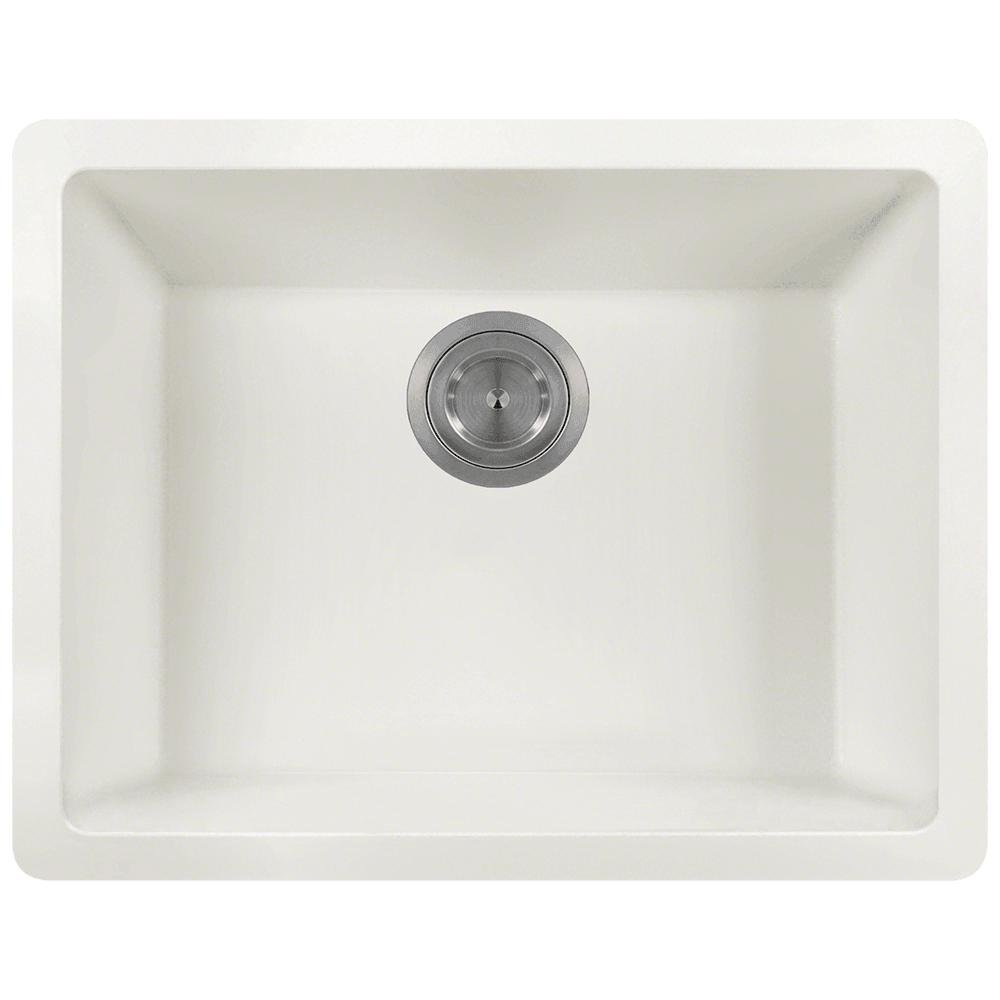 808 Dual-mount Single Bowl Quartz Kitchen Sink, White, No Additional Accessories